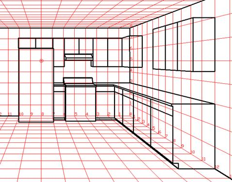 kitchen 1 point perspective. finish adding all the details then add finer such as outlets baseboards handles and possibly some furniture kitchen 1 point perspective