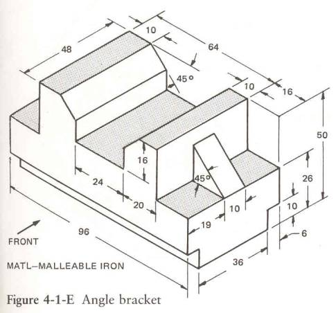 Page 111 ANGLE BRACKET  3D Solids Engineering Graphics Isometric Projection